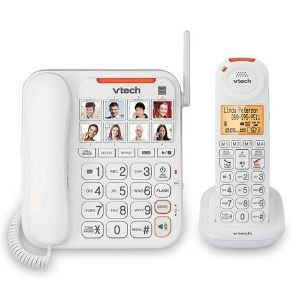 A picture of VTech SN5147 Amplified Corded/Cordless Senior Phone with Answering Machine, one of the excellent units among the best cordless phones for seniors with dementia you will fancy having for your parents or gurdians