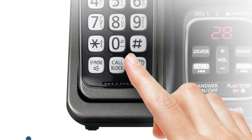 An image showing the call block feature in PANASONIC Expandable Cordless Phone System with Link2Cell Bluetooth, Voice Assistant, Answering Machine and Call Blocking, one of the best cordless panasonic phones with answering machine