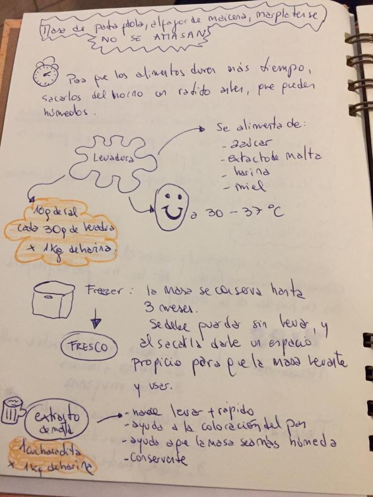 Secretos de la levadura en un cuaderno.
