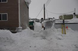 The alley behind Nichol's Front Door Store also used as a snow dump