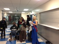 The former Miss Iceworm, Laura Kasch, getting ready to pass on the crown
