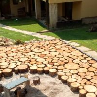Cordwood flooring moves outdoors in Slovakia