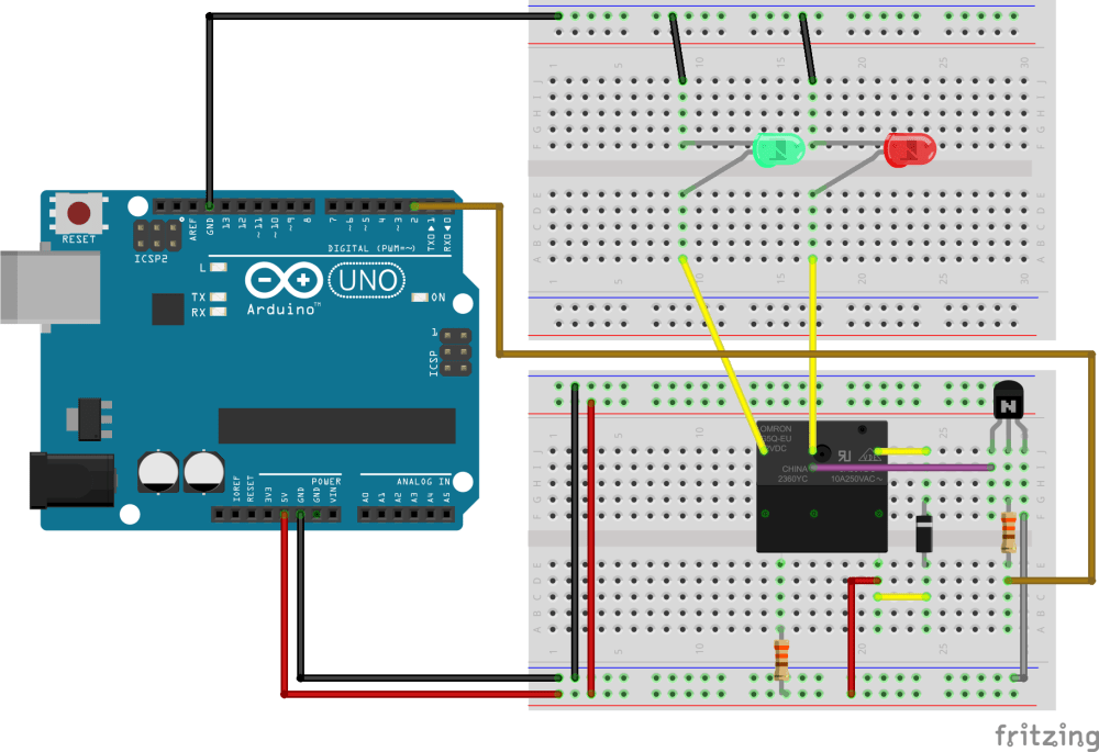 medium resolution of a circuit diagram of an arduino uno r3 connected to a relay via breadboard