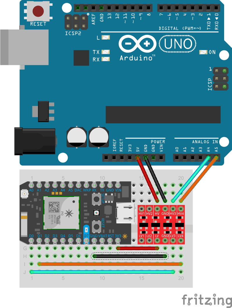 hight resolution of logic level shifting with arduino and particle