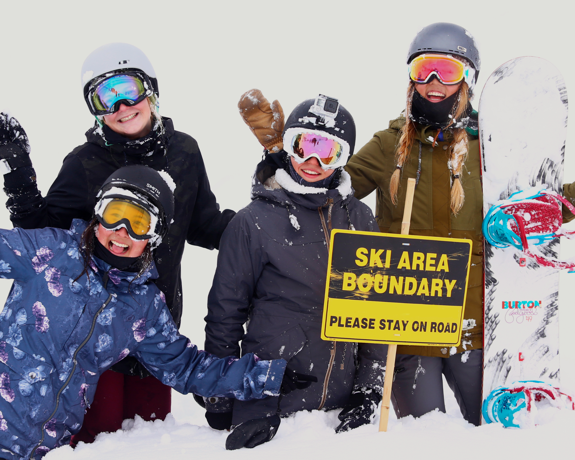 Group of campers in Women's Snowboard Camp