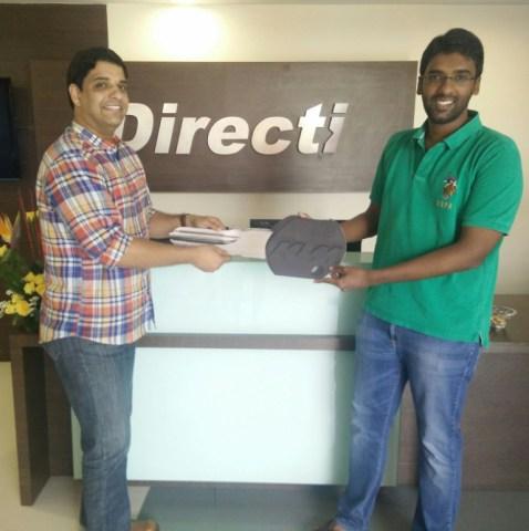 (L-R) Ameya Ayachit  Head Talent Acquisition  Directi with winner Prasha...