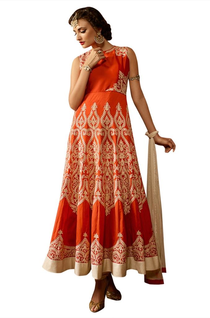 Ethnic Dukaan Orange Taffeta Silk Suit With Zari Embroider price 3848
