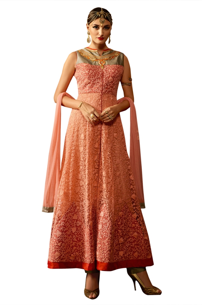 Ethnic Dukaan Peach Net Suit With Resham Embroidery price 3683