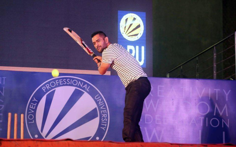 MS Dhoni hitting a shot during his vist at LPU.