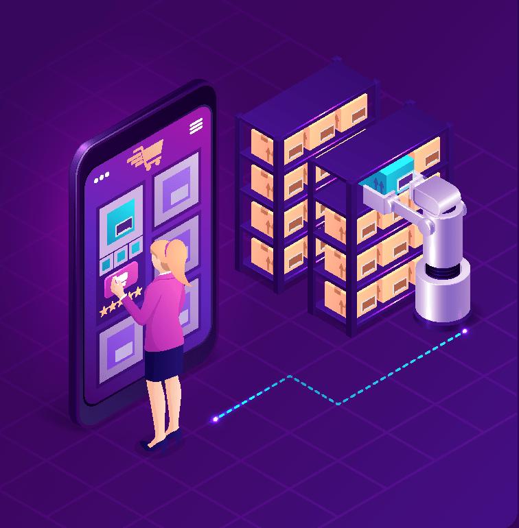 Woman buying on big phone next to robot