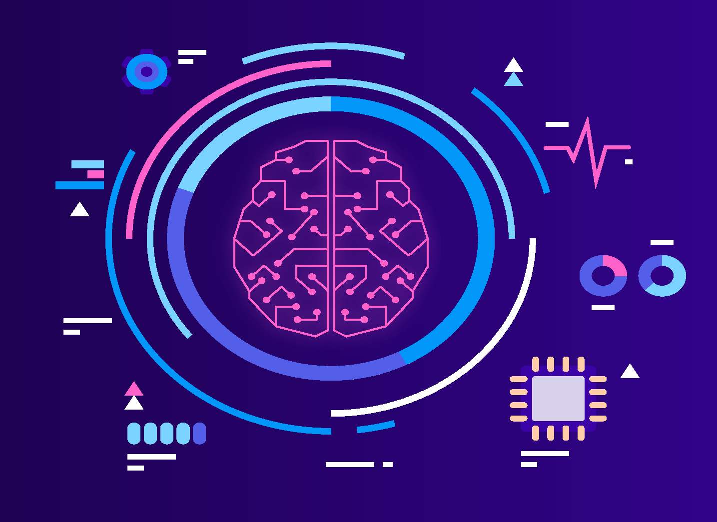 Brain with graphs besides it