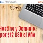 Hosting y Dominio por $12 USD el Año en GoDaddy