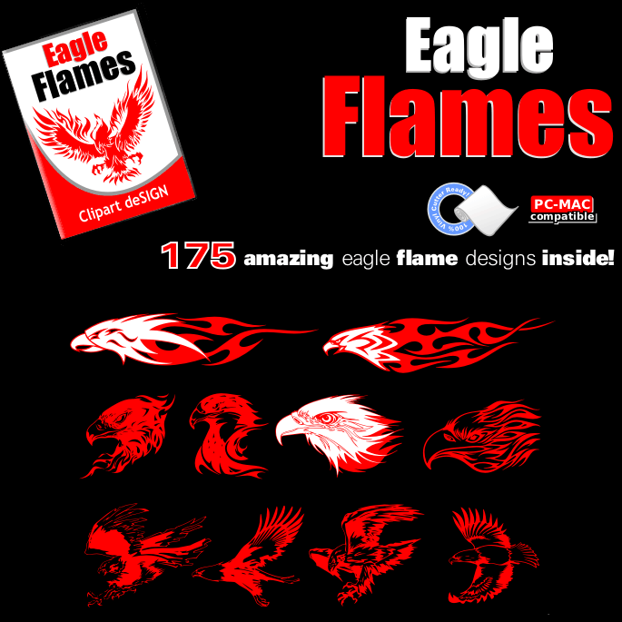 Eagle Flames Clip Art