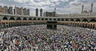 Muslim pilgrims circle round the Kaaba in Mecca in 2019. The numbers will be dramatically reduced in 2020. EPA