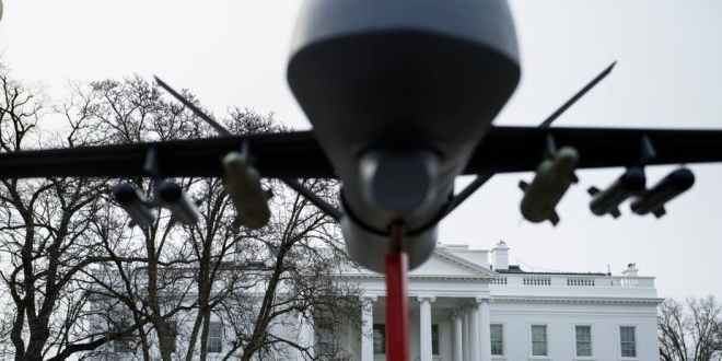 A military drone replica is displayed in front of the White House during a protest against drone strikes on January 12, 2019 in Washington, DC. Brendan Smialowski/AFP via Getty Images