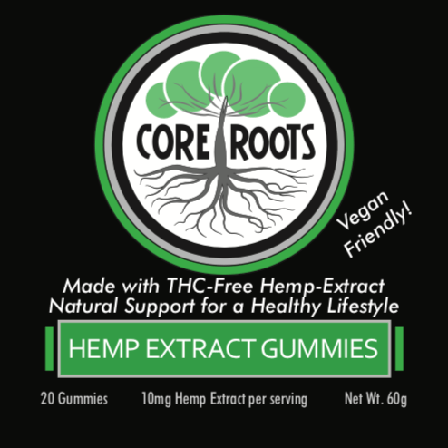 core roots cbd vegan gummies front label