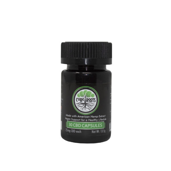 Core Roots CBD capsules 25mg front label