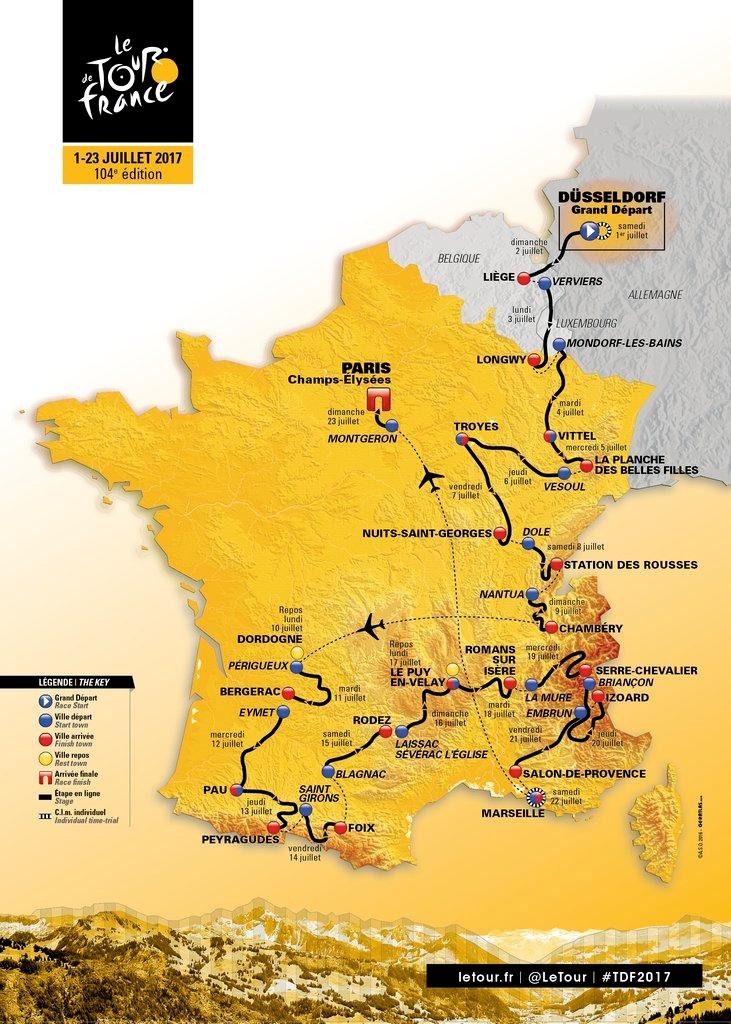 Route Tour De France 2016 : route, france, France, Route, Announced:, France's
