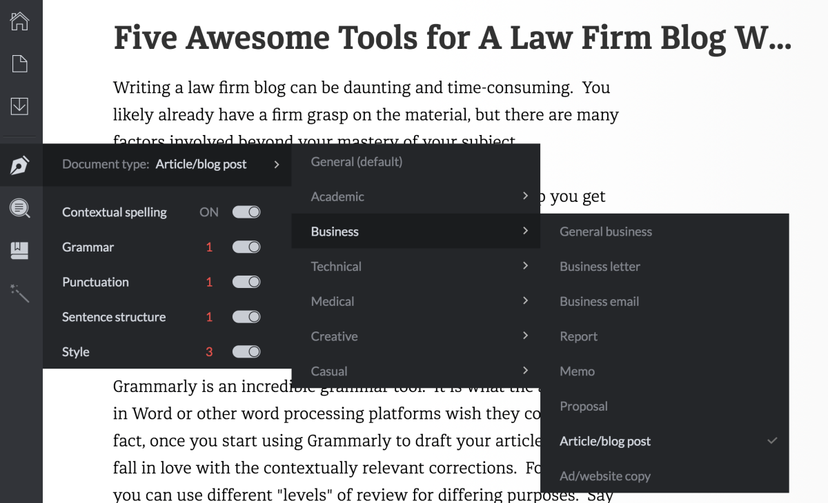 Grammarly is an Outstanding Law Blog Writing Tool