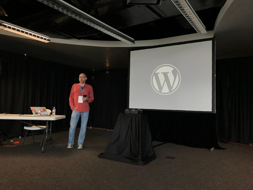Corey Brown speaking at Wordcamp Baltimore 2017