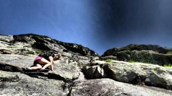 Laura on the Ledge of Huntington's Ravine