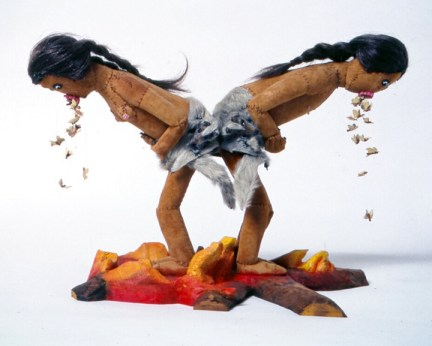 Dawn Boy & Dawn Girl Vomiting Moths, 2000, Leather, wool, seed beads, fur, human hair, 24 x 18 x 10 inches