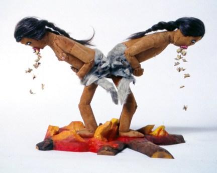 Dawn Boy & Dawn Girl Vomiting Moths, 2000, Leather, wool, seed beads, fur, human hair, 24 x 18 x 10 inches