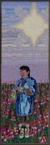 Woman with 7 Up and Fireweed, 2009, Seed beads hand sewn on felt, 18 x 16 inches