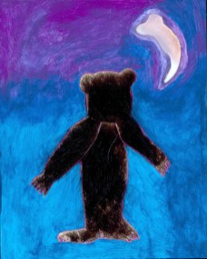 Night Bear, 2013, Fur, Wood, Cast Glass Bear Claw, Electric Light, Acrylic Paint 10 x 8 inches