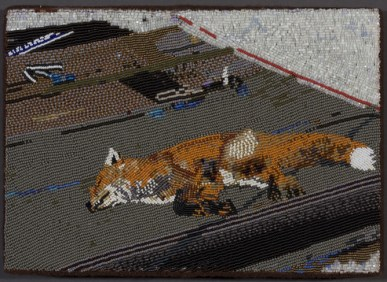 Fox Tanning in the Sun-Chevak, 2009, Seed beads hand sewn on felt, 8 x 11 inches