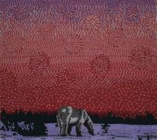 Aurora Borealis Bear, 2008, Seed beads hand sewn on felt, 9 x 10 inches