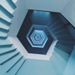 This magnificient view is from the groud floor of Light house in Pondicherry, India. Entire staircase is painted with pastel blue.