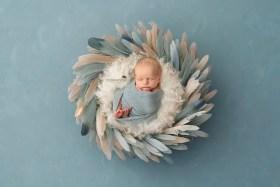 baby boy blue feathers wreath