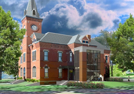 Rendering of Stewart Library Building with the new addition.