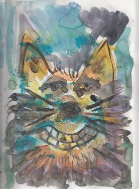 Cheshire cat, watercolor , acrylic and pencil