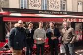L'équipe de Frédéric Lefebvre ( Florian Bigaud Bénédicte Jacq ) et les propriétaires du café Ouest à St Malo