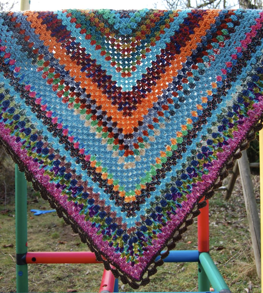 Sock Yarn Leftover Half Granny Square Shawl (2/3)