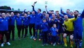 Strand United celebrate following their County Cup win