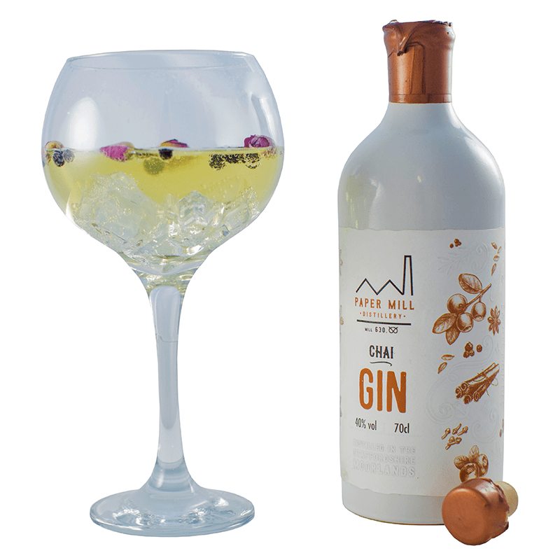 Chai gin bottle and glass