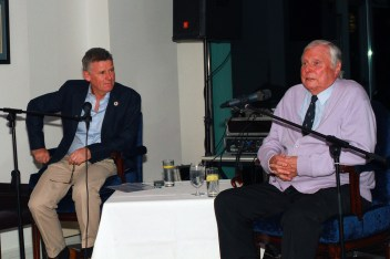 RTE's Greg Allen listening intently to Peter Alliss during the Castlemartyr members evening with Peter Alliss. Picture: Niall O'Shea