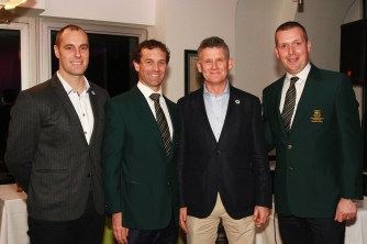 MC Greg Allen pictures with Brady Sherwood, Tony Loughnane and JP Twomey at the Castlemartyr members evening with Peter Alliss. Picture: Niall O'Shea