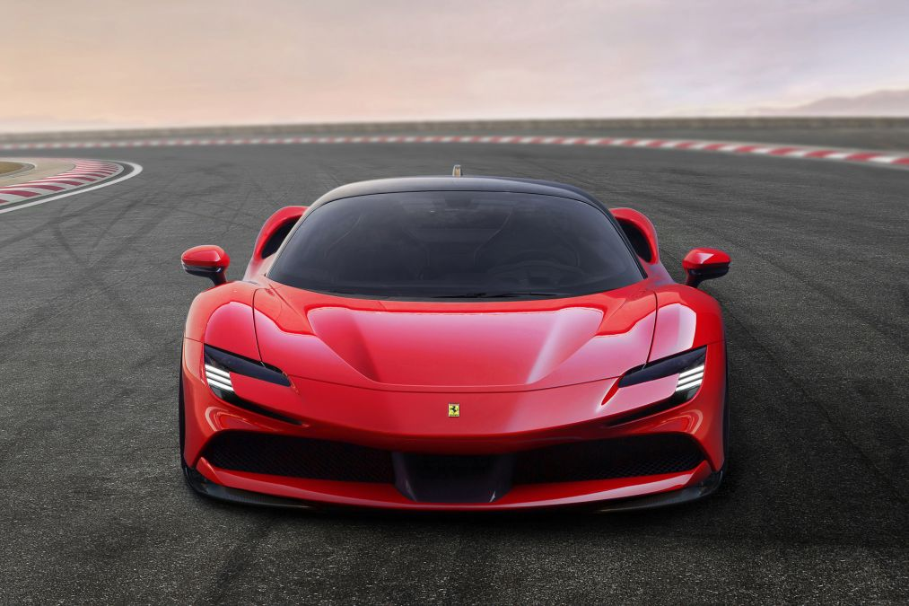 The new Ferrari SF90 Stradale seen from the front