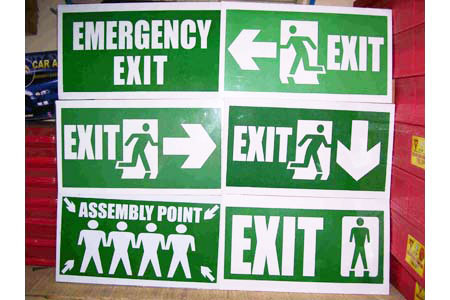Emergency Exit, Assembly Point and Directional Signs