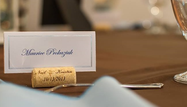 Custom Printed Personalized Cork Place Card Holder
