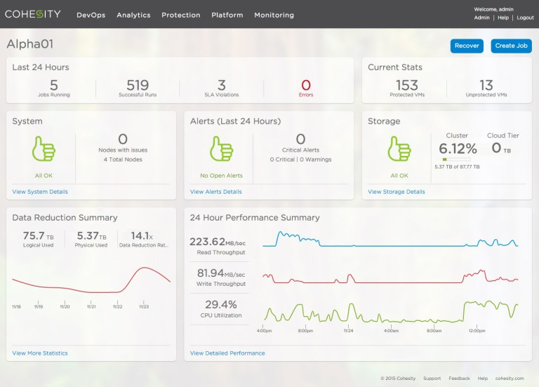 Cohesity_UI_Dashboard