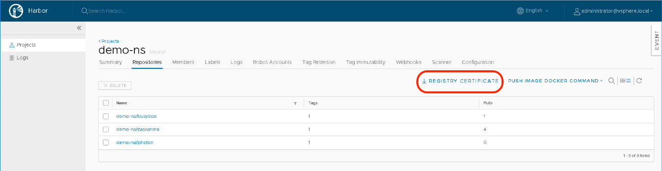Integrating embedded vSphere with Kubernetes Harbor Registry with TKG (guest) clusters