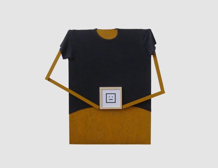 Ikon (OSB lap, fenyőléc, trikó, keretezett print) 2014