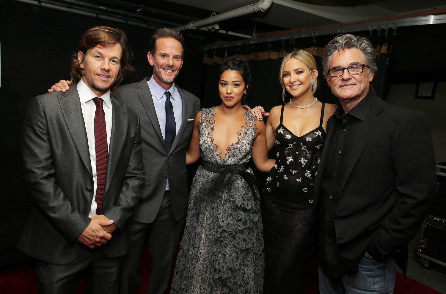 """Mark Wahlberg, Director Peter Berg, Gina Rodriguez, Kate Hudson and Kurt Russell seen at Lionsgate's """"Deepwater Horizon"""" premiere at the 2016 Toronto International Festival on Tuesday, Sept. 13, 2016, in Toronto. (Photo by Eric Charbonneau/Invision for LionsgateAP Images)"""