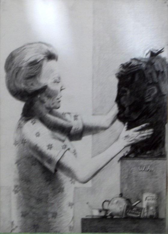 Surrealistic portrait graphite pencil drawing thumbnail