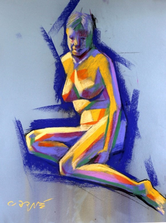 expressionistic nude pastel sketch